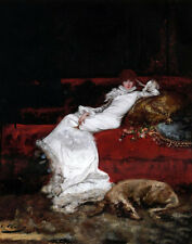 Oil painting Georges Jules Victor Clairin - Portrait of Sarah Bernhardt pet dog