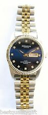 NEW-SWANSON 2,TWO TONE S/STEEL GOLD,SILVER+DARK BLUE DIAL+DAY,DATE,CRYSTAL WATCH