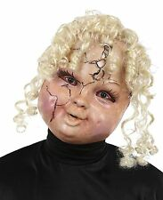 ADULT CREEPY CARRIE HORROR SCARY BABY DOLL FACE MASK Curly Blonde Hair NEW