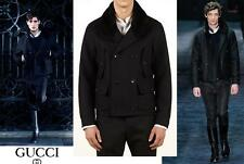 NEW GUCCI WOOL SHEARLING-COLLAR PEA COAT BLACK 4 POCKETS 54 - 44