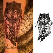 1Pc Tatouage Sticker Imperméable Temporaire Modèle de Plume Loup Art Corporel