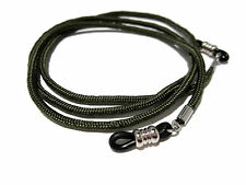 Army Green Paracord Eyeglass Holder, Eyeglass Chain Necklace, Black Grips, 367