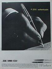 PUBLICITE PARKER STYLO PLUME BILLE SIGNE HOMME FLECHE DE 1966 FRENCH AD PEN PUB
