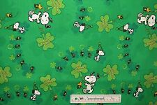 Peanuts St. Pat's Parade Snoopy Woodstock Patrick's Day Cotton Fabric BTY (E2) +