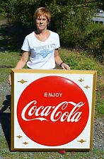 VINTAGE 60's COCA COLA SODA DRINK EMBOSSED BUTTON SIGN SUPER RARE COLLECTABLE