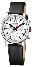 Mondaine A690.30304.11SBB Evo Big Chronograph Men Black Leather Watch New in Box
