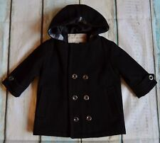 Baby Boy Or Girl Designer Burberry Black Wool Coat With Hood 6-9 Months Vgc