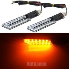 2pcs Amber Yellow Motorcycle Mini Turn Signal 15-SMD LED Lights Plastic Case NEW