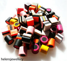 NO HOLES!! 70 MIXED FIMO POLYMER CLAY LIQUORICE ALLSORTS BEADS