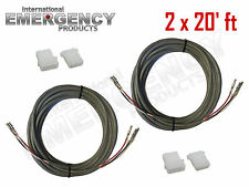2x 20' ft Strobe Cable 3 Conductor Wire AMP Power Supply w/ Connector for Whelen