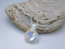 Necklace 925 Silver Chain Made with Swarovski Crystal Ab Round Disc Drop Pendant