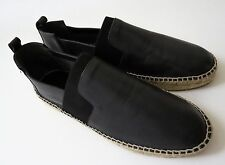 NEW BALENCIAGA Dark Gray Leather Espadrille Loafers Shoes Size 9 US 42 Euro