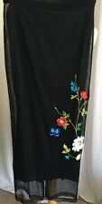 Dolce & Gabbana Silk Sheer Chiffon Black Embroidered Long Skirt 28/42 Vtg