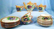 Vintage Child's Toy Tea Set Porcelain Blue Pink Flowers Peach Luster Japan AsIs