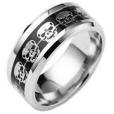 Black Blue Gold Silver Plated Womens Wedding Band Mens Skull Ring (Sizes L - Z)