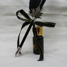 Vintage Fashion Quill Goose Feather Dip Pen & ink Bottle wedding gift Black