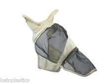 FULL BEIGE, CREAM FLY MASK VEIL FOR HORSES / HORSE  - SIZE L (LARGE)
