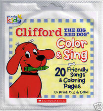 20 CLIFFORD The Big Red Dog COLOR & SING Friendly Songs & Coloring Pages CD