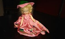 """Vintage  VIRGA- 1950's Doll Pink Dress green Feather Jack and Jill 5.5"""""""