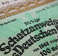 100 RM Nazi War Bond Cert WWII + Swastika (1941-1942) -- CV $299.95