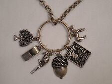 """Old Silver Tone Chain Necklace With 6 Charms Ring Pendant ~ 23"""" Long 3"""" Ext"""