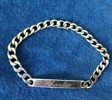 Italian 925 Sterling Silver Mens Cuban Link ID Bracelet with name Charles 8-3/4""