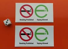 No Smoking Vaping Allowed stickers x 2 100mm x 50mm 7-10 year waterproof vinyl