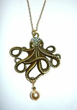 Beautiful antique bronze octopus necklace set with diamantes with pearl drop 32""