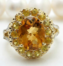 5.15CTW Natural Citrine Sapphire and DIAMOND in 14K Solid Yellow Gold Women Ring