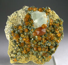 BRIGHT ORANGE SPESSARTINE GARNET CRYSTALS w FLUORITE, WUSHAN MINE, CHINA