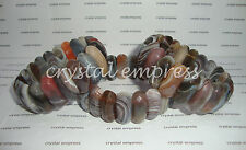 FENG SHUI - HIGH GRADE FACETED 25MM BOTSWANA AGATE BANGLE CUFF BRACELET