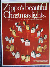 VINTAGE CHRISTMAS 1960's 13 ZIPPO GOLD & SILVER LIGHTERS SIGN AD