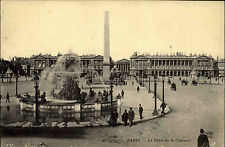 Paris France AK 1910 Place de la Concorde Platz der Eintracht Obelisk gelaufen