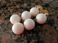 Vintage Cream Ivory White Coral Dangle Earrings Gold Posts 23.0g 14mm beads