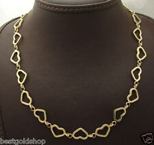 "17"" Open Heart Chain Necklace with Toggle Clasp Real 14K Yellow Gold"