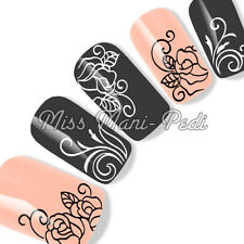 Nail Art Water Transfers Decals Stickers Black White Monochrome Rose Flower Y156