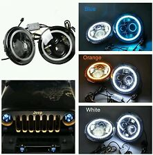 "Coppia Fari led 7""angel eyes,jeep wrangler jk, tj, cj, defender,suzuki,omologati"