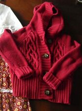 GAP kids girls sweater brick red cable chunky cardigan 4t 4 5t 5 po EUC