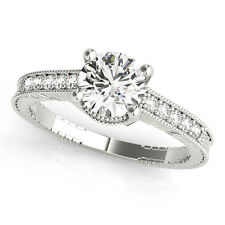 1.70 CT ROUND MOISSANITE FOREVER ONE & DIAMOND ANTIQUE ENGAGEMENT RING