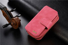Portable Magnetic Detachable Pouch Purse Card Wallet Bag BRG For iPhone Samsung