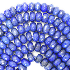 """10mm faceted blue lapis lazuli rondelle beads 15.5"""" strand"""