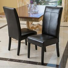 Dining Room Black PU Leather Dining Chairs (Set of 2)
