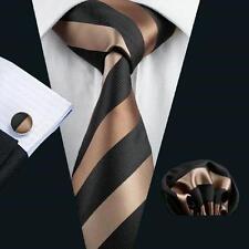 Nouveau design italien bronze/beige silk tie, hanky, boutons de manchette