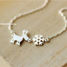 Hot 925 Sterling Silver Clavicle Necklace Cute Elk&Snowflake Christmas Gift