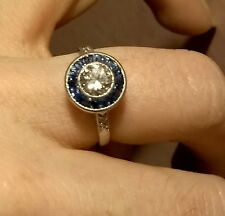 Antique Art Deco Platinum Diamond and Sapphire Ring
