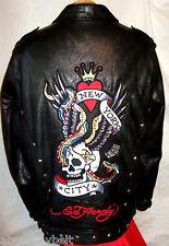 **AVIREX  & ED HARDY FACTORY DISTRESSED LEATHER Jacket*L**$800**99.99% NEWBIE!