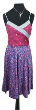 MARC JACOBS Dress Size 8 Size 10 Red Blue Floral Designer Sundress Cotton