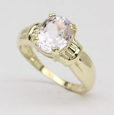 Oval Pink Kunzite 3ct Solitaire 14K Yellow Gold Ribbon Accent Ring Size 8
