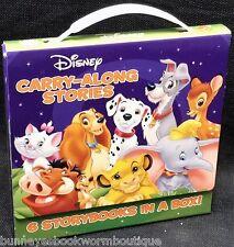 DISNEY CARRY ALONG STORIES Lot SET Books STORY Bambi LION KING Dumbo ANIMALS Box