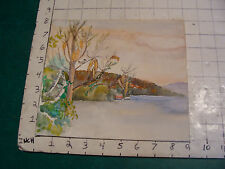 vintage Watercolor art: across the water to big house, close up tree w bird